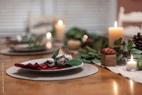Warm and inviting holiday tablescape for winter gatherings Fototapet