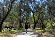 Australian Woman Hiking In Bushland In Western Australia