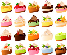 Vector Illustration Of Various Cute Slices Of Cake With Garnish
