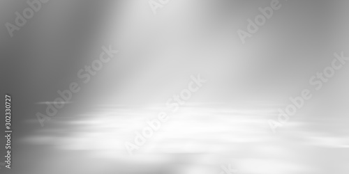 Obraz Soft gray empty perspective floor room studio gradient with backdrop spotlight used for background and display your product. - fototapety do salonu