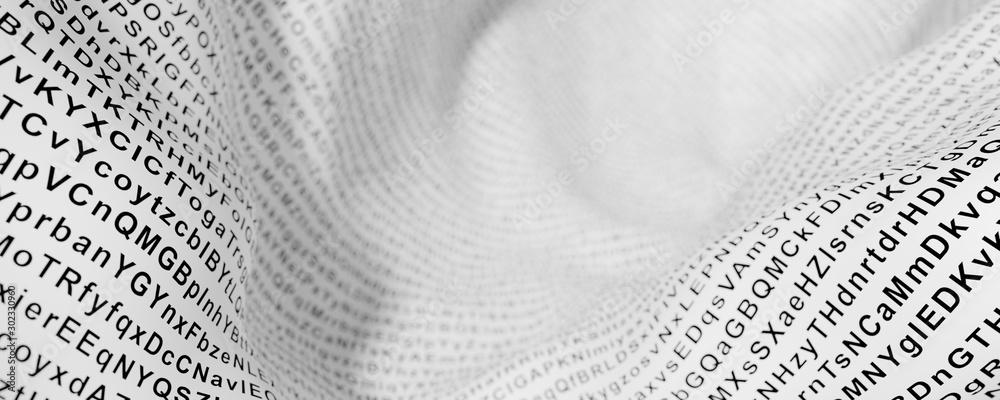 Fototapeta Random letters on an abstract white surface, original 3d rendering