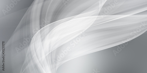 Autocollant pour porte Fractal waves white gray motion background / grey gradient abstract background