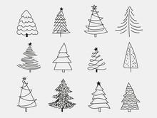 Doodle Christmas Trees. To Create Holiday Cards, Backgrounds, Ornaments, Decoration. Hand Drawn Christmas Tree Happy New Year