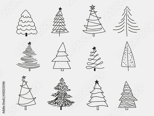Obraz Doodle Christmas Trees. to create holiday cards, backgrounds, ornaments, decoration. Hand drawn Christmas tree happy new year - fototapety do salonu