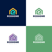 Minimalist Vector Logo Of House And Letter E. Eco House Concept.