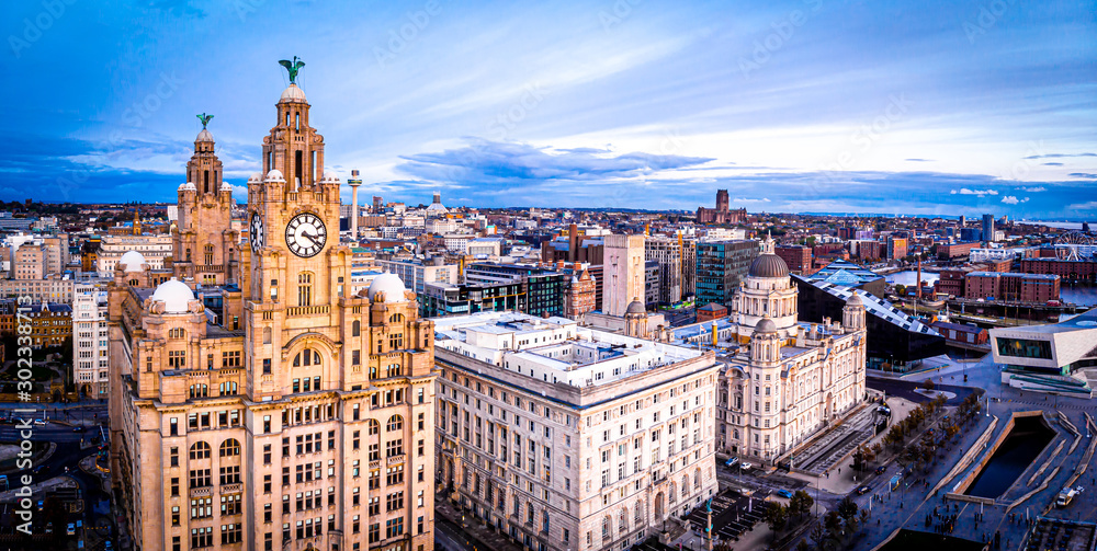 Fototapety, obrazy: Aerial view of Royal Liver Building, England