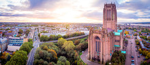 Aerial View Of Liverpool Cathedral In The Morning, UK