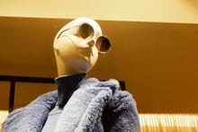 Mannequin In Blue Faux Fur Jac...