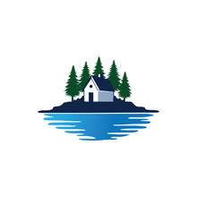 Cottage Home Stay In Front Of Pine Tree Forest And Lake Vector Logo Design