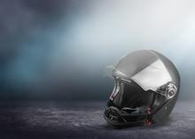 Black Biker Helmet Isolated On...