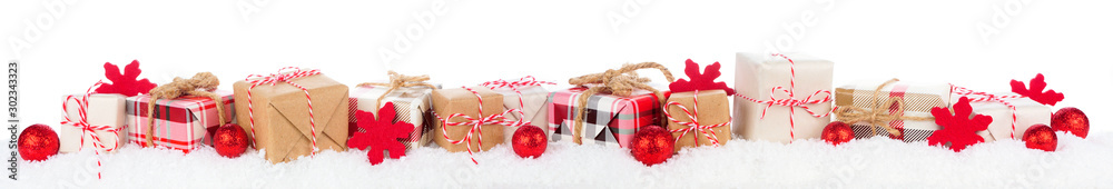 Fototapety, obrazy: Christmas border of rustic red, white, brown and plaid gift boxes in snow. Side view isolated on a white background.