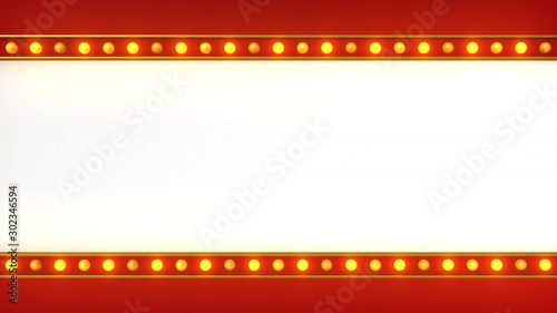 Leinwand Poster  Red marquee light board sign retro on white background