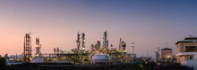 Panorama Of Oil And Gas Refinery Plant Or Petrochemical Industry On Sky Sunset Background, Manufacturing Of Petroleum Industrial Business