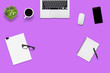 canvas print picture - Top view office desk and supplies, with copy space. Creative flat lay photo of workspace desk