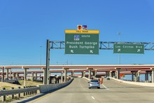 Highway Leading To The President George Bush Turnpike In Dallas, Texas