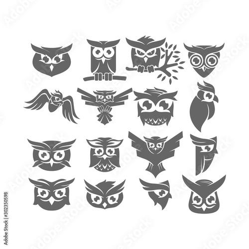 Owl Logo Design Collection Vector Template Set
