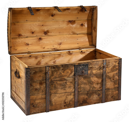 Obraz na plátně Trunk Treasure chest open with clipping path.