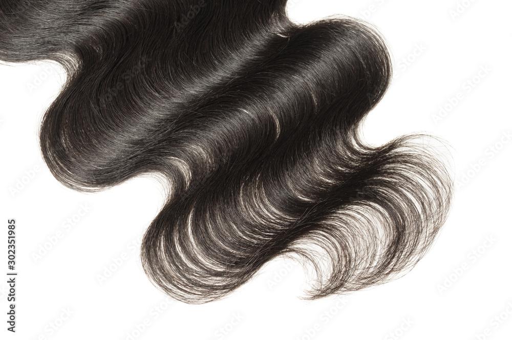 Fototapeta body wave black human hair weaves extensions lace closure