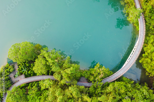 Obraz landscape of path over water in aerial view - fototapety do salonu