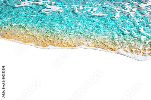 Fotomural  Blue sea wave tide pattern on white background isolated closeup top view, turquo
