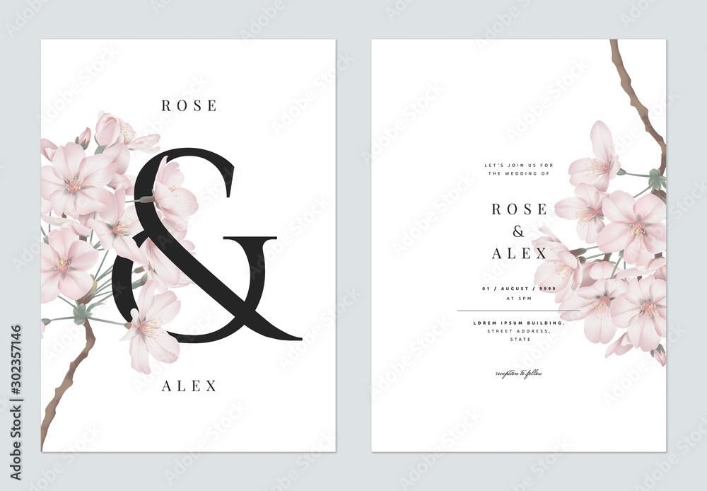 Fototapeta Floral wedding invitation card template design, Somei Yoshino sakura flowers with ampersand lettering on white, pastel vintage theme