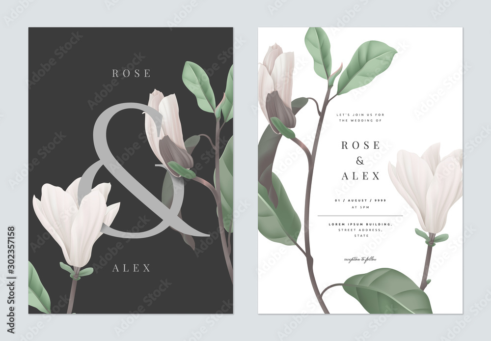 Fototapeta Floral wedding invitation card template design, white Anise magnolia flowers with ampersand lettering on dark grey, pastel vintage theme