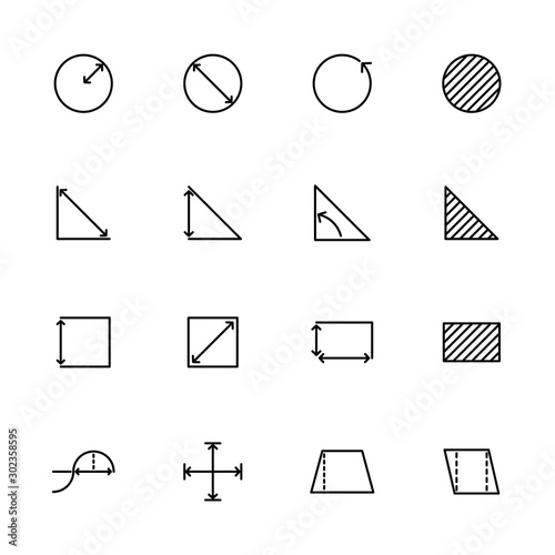 Line icon set basic mathematical measurement or metering Canvas-taulu
