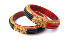 Indian Traditional Bangles Isolated On Violet Background