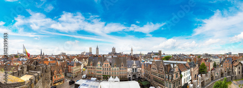 Panoramic view of Gent Fototapeta