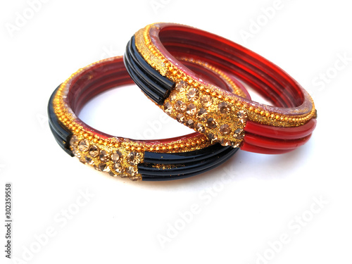 indian traditional bangles isolated on violet background Wallpaper Mural