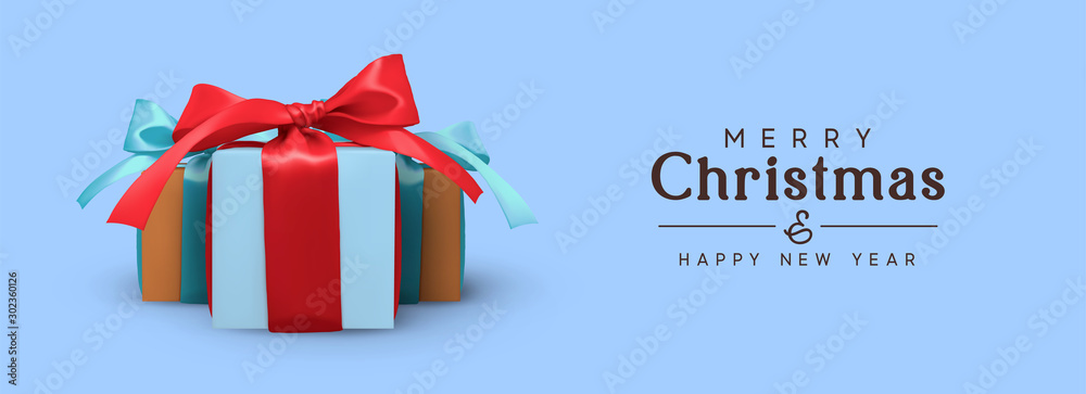 Fototapety, obrazy: Christmas background with group of realistic gift boxes with red and blue ribbon bow. Xmas presents. Festive decorative objects.