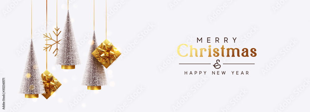 Fototapeta Christmas banner Background realistic festive gifts box. Christmas lush tree silver color. Xmas present. Horizontal New Year poster, greeting card, header for website. Gold and white decor ornaments
