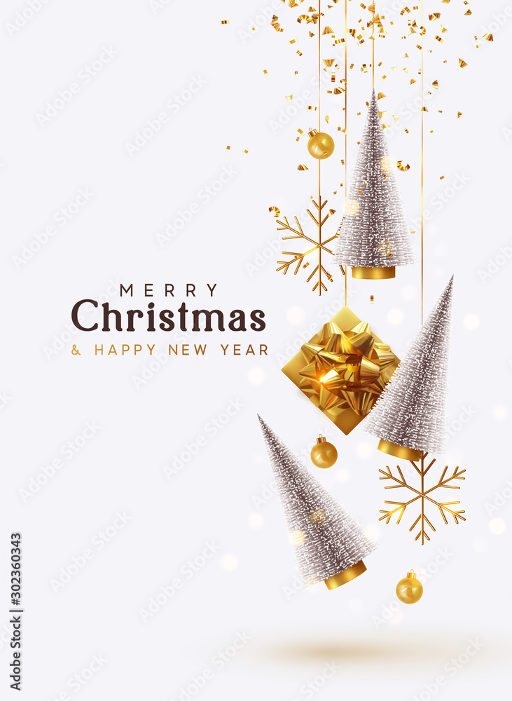 Fototapety, obrazy: Merry Christmas and Happy New Year. Background with realistic festive gifts box. Christmas lush tree silver color. Xmas present. Golden baubles, balls, glitter gold confetti. metallic bronze snowflake