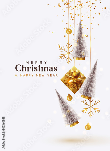 Merry Christmas and Happy New Year. Background with realistic festive gifts box. Christmas lush tree silver color. Xmas present. Golden baubles, balls, glitter gold confetti. metallic bronze snowflake