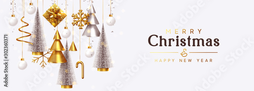 Fotomural  Christmas banner Background realistic festive gifts box