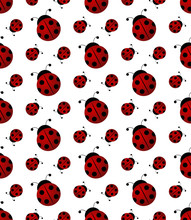 Ladybug Or Ladybird Seamless Pattern, Realistic Red And Black Beetle For Logo, Ecology Poster, Summer Or Spring Poster, Seasonal Poster, Floral Pattern, T-shirt Print. Vector Cartoon Illustration