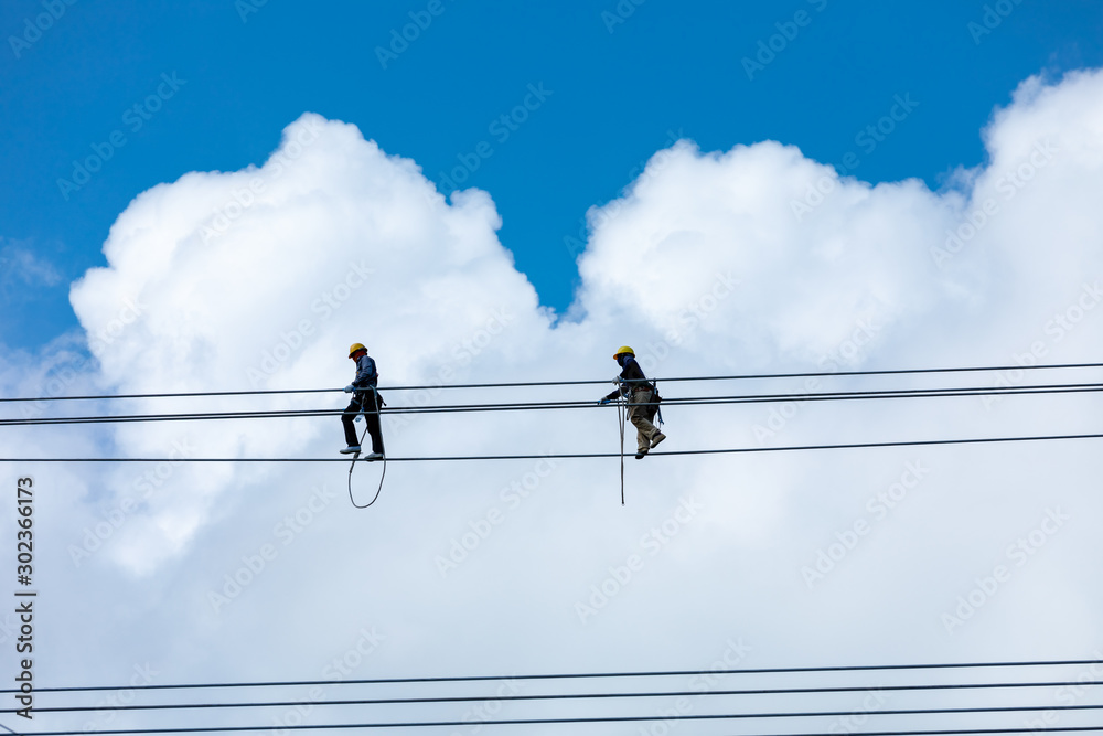 Fototapety, obrazy: installation modification high voltage electrical cables
