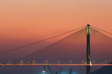 Suspension bridge in Hong Kong under sunset
