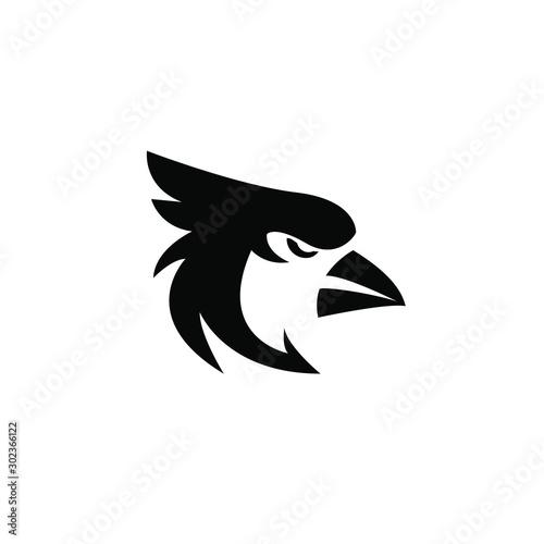 In de dag Uilen cartoon cardinal bird black logo icon design vector