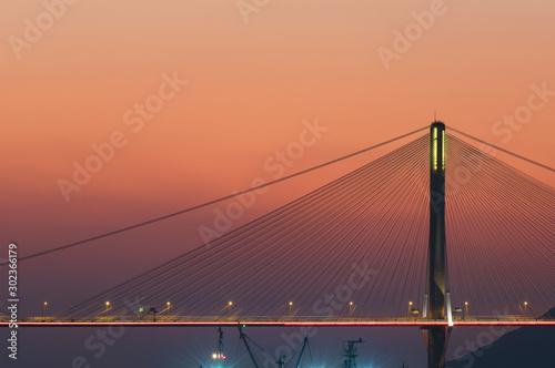 obraz lub plakat Suspension bridge in Hong Kong under sunset