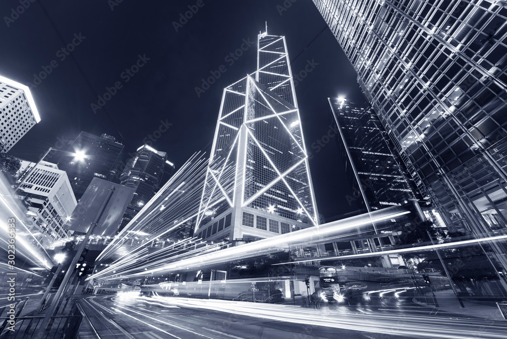 Fototapeta traffic in central district of Hong Kong city at night