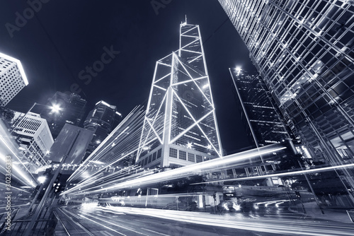traffic in central district of Hong Kong city at night Canvas Print