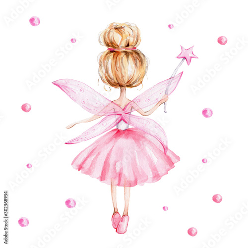 Obraz na płótnie Cute cartoon fairy with magic wand and wings; watercolor hand draw illustration;
