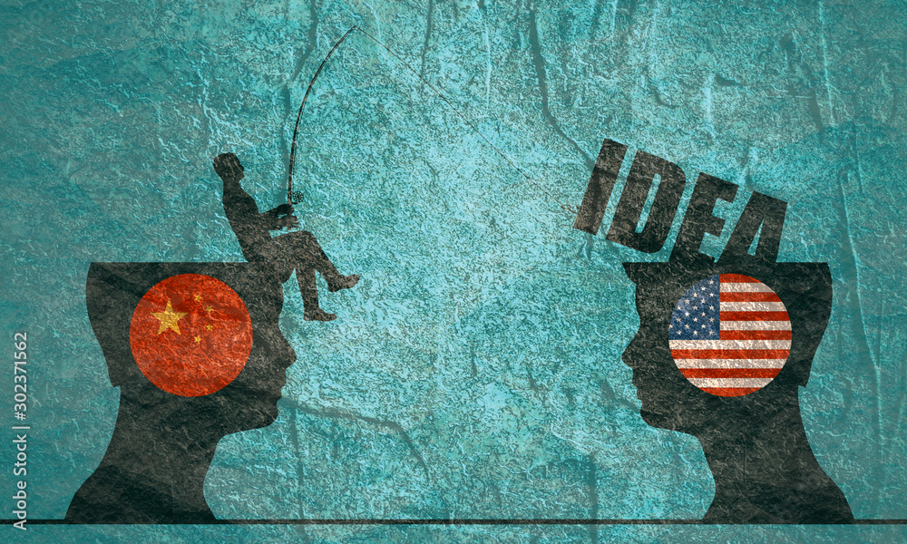 Fototapeta One businessman steal the idea from another. Commercial spying concept. National flags of USA and China
