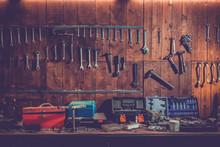 Workshop Scene. Old Tools Hang...