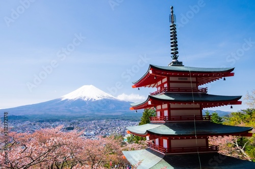 Fototapety, obrazy: Chureito Pagoda with Mt. Fuji under clear blue sky, Shimoyoshida, Japan