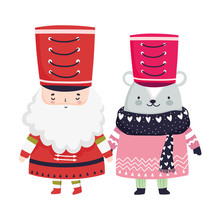 Merry Christmas Celebration Nutcracker Soldier And Bear With Sweater