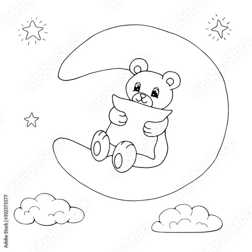 Cute cartoon bear hugging a pillow sitting on a moon. Isolated objects on white background. White and black vector illustration for coloring book.