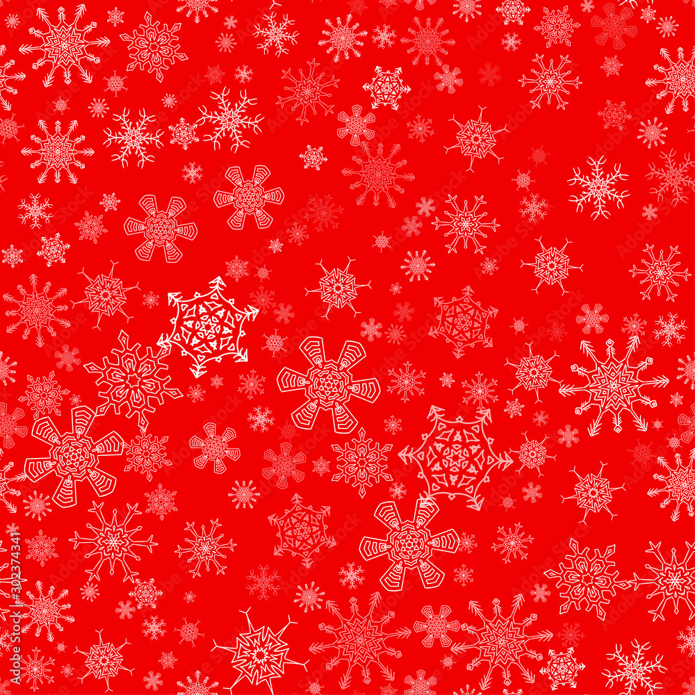 Fototapety, obrazy: Red seamless Christmas pattern with different snowflakes