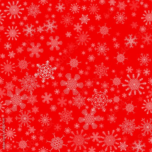 Red seamless Christmas pattern with different snowflakes